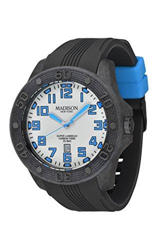 MADISON NEW YORK Herren-Armbanduhr Diver Analog Quarz Silikon SUN548C