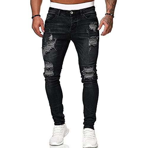 Jean Skinny Détruit pour Hommes, Pantalon Extensible en Denim Stretch Coupe Slim Décontracté avec Trous Déchirés Coleur Unie Pantalon de Travail Fête de pères (Noir, M)