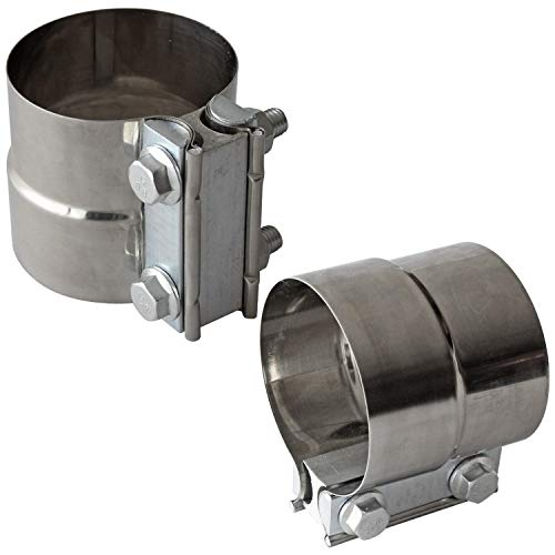 3' Inch Exhaust Clamps Stainless Steel Muffler Band Clamp for 3' Inner Diameter to 3' Outer Diameter Turbo Downpipe Tip Car System Connection (2 Pack)