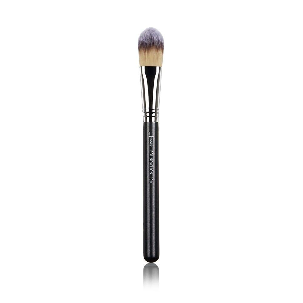 Face Single Makeup Brush Synthetic 1Pcs store Low price Black-Silver Foundation