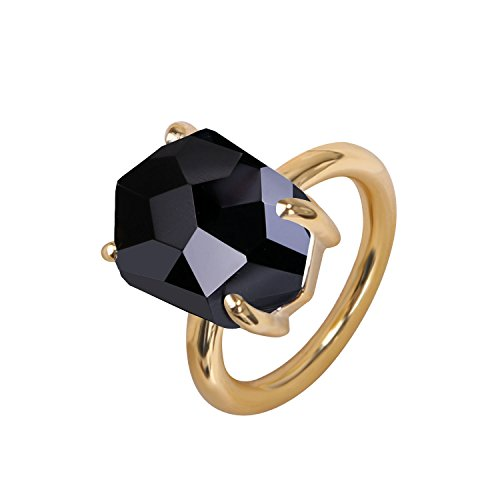 KELITCH Crystal Ring for Women Girl 18k Gold Plated Black Crystal Gemstone Ring - Size L/M