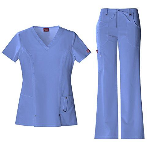 Dickies Xtreme Stretch Women's V-Neck Top 82851 & Drawstring Pant 82011 Scrub Set (Ceil Blue - X-Small)