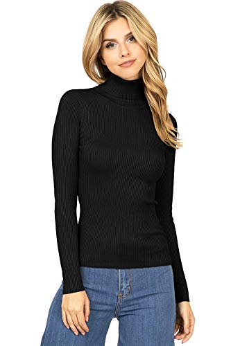 Ambiance Apparel Women#039s Ribbed Long Sleeve Turtleneck Top M Black