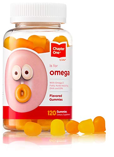 Chapter One Omega Gummies, Great Tasting Chewable Omega 3 Gummies for Kids, Certified Kosher (120 Flavored Gummies)