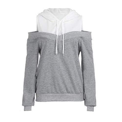 HGWXX7 Women Hoodie Sweatshirt Off Shoulder Long Sleeve Hooded Pullover Tops Blouse(S,Gray)
