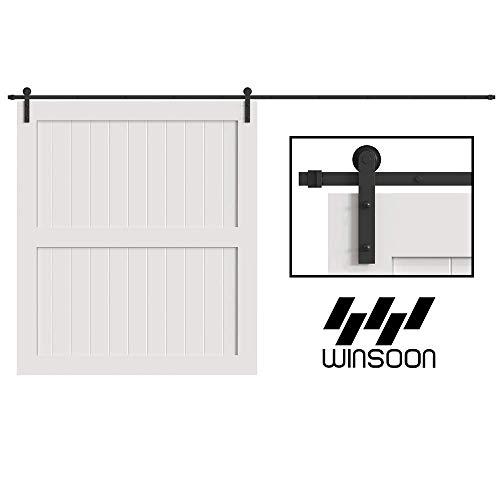 WINSOON 5/6/8/10/12/13/15/16FT Black Straight Design Sliding Roller Barn Single Wood Door Hardware Closet Track Kit Set (12FT Single Door Kit)