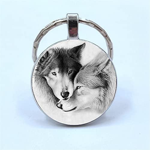 Llavero Lobo LOWSCHAIN Wolf Moon CABOCHO CABOCHON Vidrio Producto Llavero Luna Llena Luna Lobo...