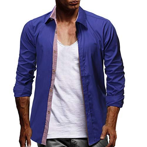 Herren Freizeithemd Henley Regular Shirt ,2019 Neue Tops Herren Business Casual Revers Langarm-Oberteil Langarm Plaid Button Größe lässig Top Bluse Shirts M-3XL