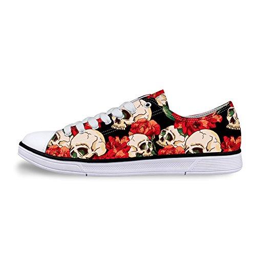 Flowerwalk - Zapatillas Unisex para Adultos, con Cordones Bajos, para Mujer y Hombre, diseño de Calavera, con Flores, para Correr, Verano, Moda, Color Negro, Talla 35 EU