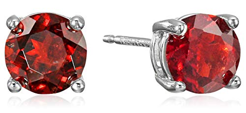 Amazon Essentials Sterling Silver Round Garnet Birthstone Stud Earrings (January)