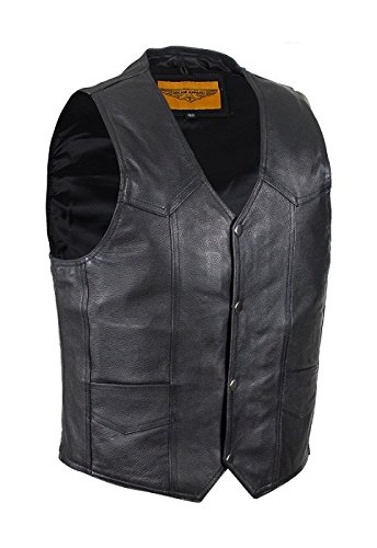 Mens Black Leather Motorcycle Vest with Gun Pocket (Size 4XL, 4X-Large, 58-60)