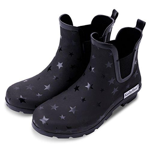 KushyShoo Womens Ankle Rain Boots, Matte and Light Rubber Elastic Rain Booties, Star, Size 8.5 US