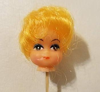 1  Short Blonde Hair Female Vinyl Craft Doll Heads on Wire Pick Stem  Pack of 4