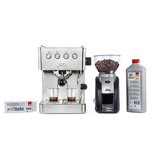 Solis espressomachine Barista + koffiemolen + reiniging. roestvrij staal