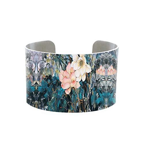Arte de moda, tinta y acuarela, brazalete de flores, brazalete de lirio de belleza, brazalete de aluminio artístico, brazalete hecho a mano, regalo para mujer 3
