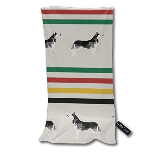 Rasyko Husky Stripes Tela – Toalla de baño de microfibra con diseño de manta para perro, suave, antibacteriano, multiusos y duradero.