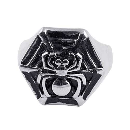 EzzySo Anillo de araña Tridimensional Negro, Estadounidense Retro clásico Punk Anillo de joyería (2 Piezas),8