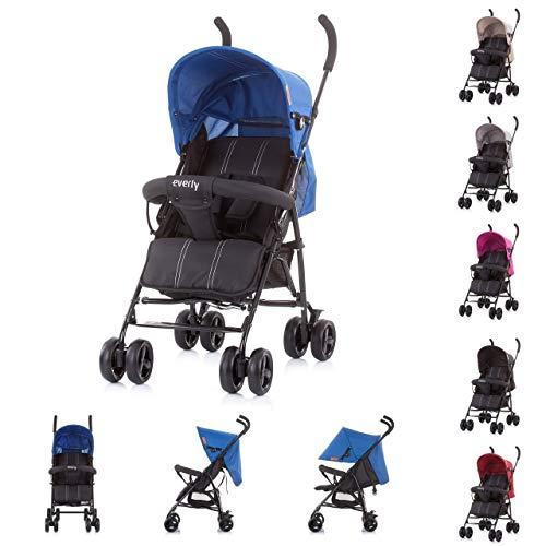 Chipolino Kinderwagen Buggy Everly, gefederte Räder Rückenlehne verstellbar Korb, Farbe:blau