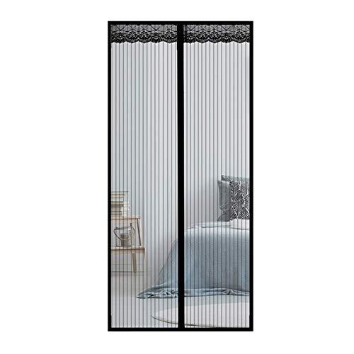 GUOGAI Mosquitera Imanes Magnetica, 70x265cm(28x104inch) Mosquiteras a Medida Cierre magnético Que se Cierra Anti Insectos Moscas y Mosquitos para Sala de Estar Balcón, Negro