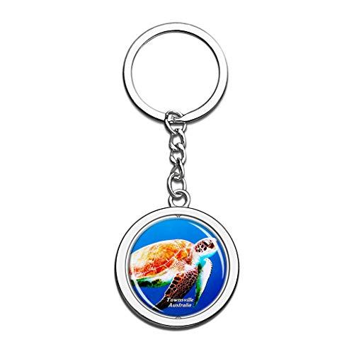 Hqiyaols Keychain Australia Reef HQ Acuario de la Gran Barrera de Coral Reefville Cristal Girar Acero Inoxidable Llavero Viajes Ciudad Recuerdo Llavero