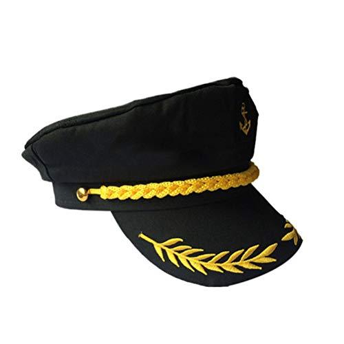 Amosfun Gorra del capitán Yate Ajustable Gorra del capitán Sailors Gorra de mar Sombrero Azul Marino Sombrero de Cosplay Disfraces de Halloween Sombrero para Adultos