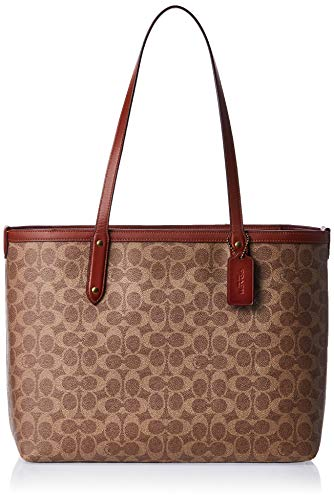 COACH Coated Canvas Signature Central Tote with Zip Tan/Rust/Brass One Size