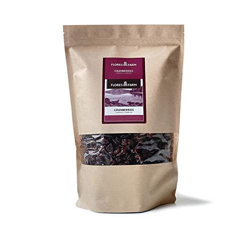 FLORES FARM - Cranberries mit Apfeldicksaft (1kg) | BIO zertifizierte getrocknete Früchte mit transparenten Lieferketten
