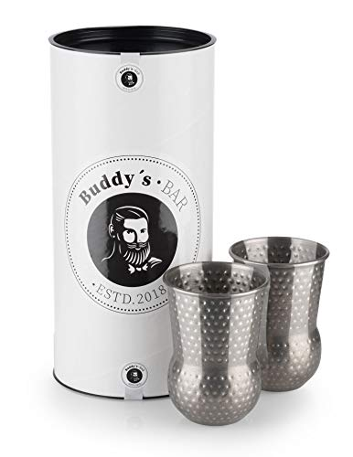 Buddy´s Bar - 2 Julep Mug Becher, 2 x 400 ml Cocktail-Becher mit Hammerschlag-Effekt, hochwertige Edelstahl-Becher, lebensmittelecht, gehämmert, inkl. Geschenkbox, 2er Set, Edelstahl antik