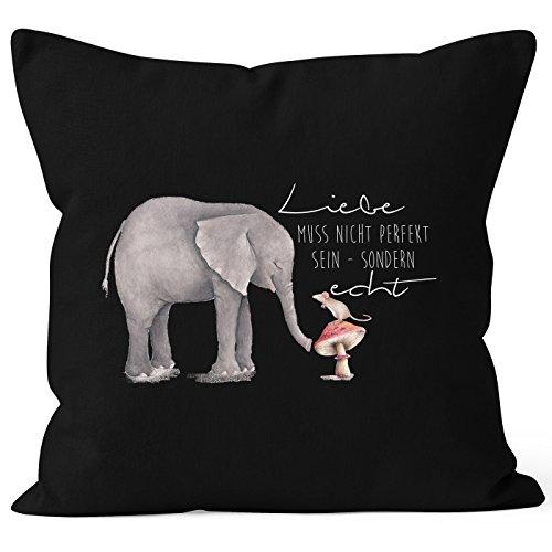 MoonWorks Kissenbezug Geschenk Liebe muss Nicht perfekt Sein sondern echt Elefant Maus Kissen-Hülle Deko-Kissen 40x40 Baumwolle schwarz 40cm x 40cm
