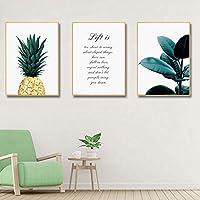北欧のパイナップル絵画壁ポスタークアドロス装飾ポスターと版画植物アートポスターキャンバス絵画-40x50cmx3フレームなし