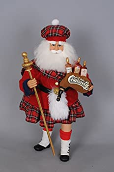 Karen Didion Originals Scottish Santa Figurine 17 Inches - Handmade Christmas Holiday Home Decorations and Collectibles