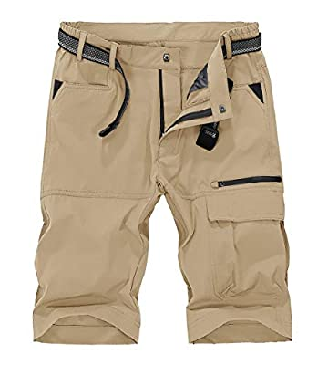 TBMPOY Men's Quick Dry Hiking Shorts Lightweight Cargo Shorts Zipper Pockets Outdoor Sports Casual(02khaki,US 34)