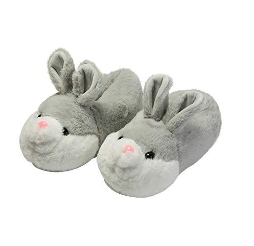 YGJT Zapatillas Casa para Unisexo Antideslizante Pantufla Cerrada Pelusa Invierno Grueso Forma de Conejo Calentar Gris