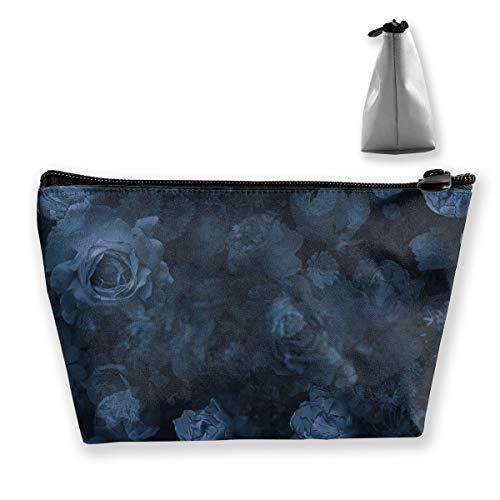 Trousse de maquillage portable pour femme Motif roses et fleurs de jardin Bleu marine