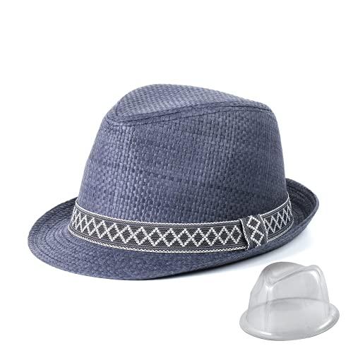 Sombreros de Paja de Panamá para Hombre, Sombreros de Playa de Verano de Paja de Papel para Hombre, Sombrero para el Sol, protección UV, Sombrero de ala Ancha Fedora (Onda, 59cm(23.2inch))