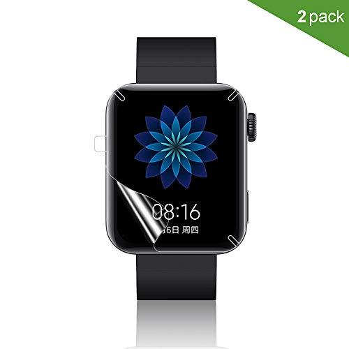 PaceBid 2 Stück Kompatibel mit Xiaomi Mi Watch Schutzfolie, [Anti-Öl] [Anti-Bläschen] [HD Klar] Voller Schutz Weicher Displayschutzfolie Glasfolie für Xiaomi Mi Watch