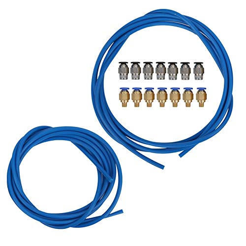 Kits de tubo de PTFE azul 3D Impresora PTFE Tubo 360 ° Rotación PC4‑M6 Conectores neumáticos Resistencia al calor 260° C para impresoras PLA ABS 1.75mm 3D