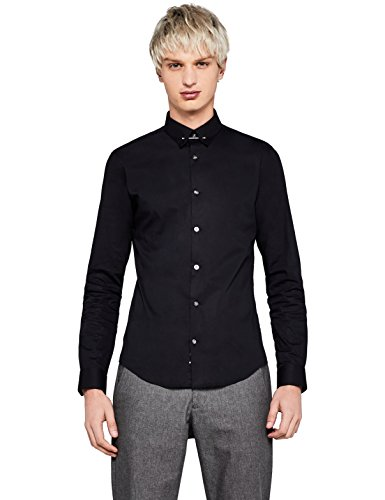 Amazon-Marke: Find Herren Skinny Fit-Hemd mit Kragennadel, Schwarz ( Pin Collar Skinny Fit /101), 42 cm, Label: XL