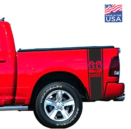 Ram Powered Muscle Rear Bed 2002-2018 Ram 1500 2500 Body Rear Side Bed Decals, Black Stripes Vinyl Stickers, Racing Custom auto Graphics-Black