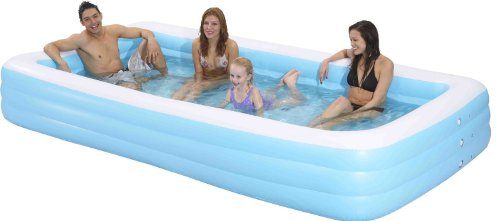 "Family Kiddie Pool - Giant Inflatable Rectangular Pool - 12 Feet Long (144""x76""x22"")"