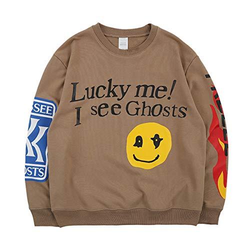 Travis Scott Kanye Lucky me I See Ghosts Sweatshirts Sweater (Khaki, M)