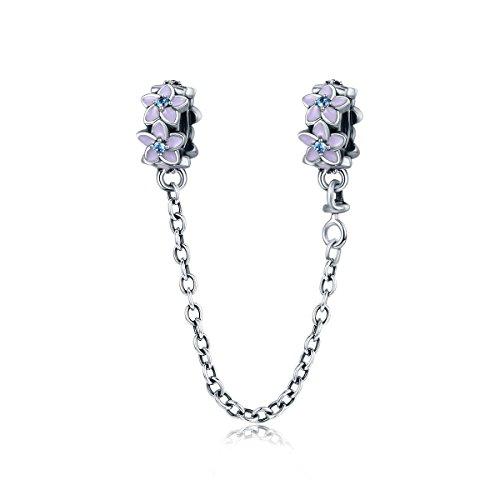 Lily Jewelry Ciondolo tipo charm con catenina di sicurezza in argento Sterling 925 e motivo di margherita in smalto viola, la perlina si adatta a braccialetti per charm in stile europeo tipo Pandora