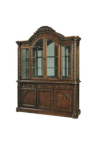 Signature Design By Ashley - North Shore Dining Room China Hutch - Component Piece - Hutch Only - Traditional Style - Dark Brown