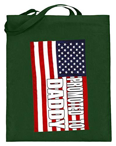 Promoted To Daddy. - Ich Werde Vater. - Vati, Papa, Papi, Amerikanisch, USA, Flagge, Fahne - Jutebeutel (mit langen Henkeln) -38cm-42cm-Grün