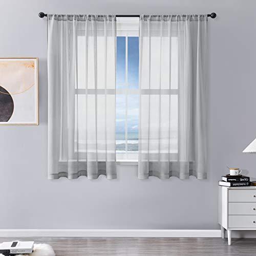 MRTREES Vorhänge Gardinen mit Store Vorhang Voile halbtransparent kurz in Leinenoptik Gardine Schals Grau 145×140cm (H×B) für Wohnzimmer Schlafzimmer Kinderzimmer 2er Set