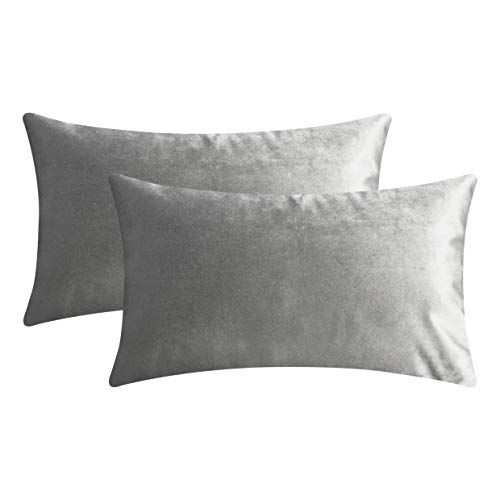 Home Brilliant Velvet Rectangular Throw Cushion Covers Pillowcases for Bed Nursery Sectional Seat, Set of 2, 12x20 inches, 30cm x 50cm, Silver Grey
