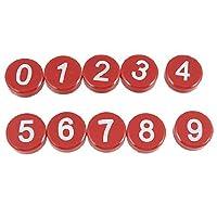アラビア数字マグネットボタンステッカー飾り10個ホワイトレッド