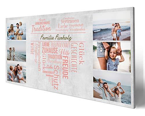 wandmotiv24 Leinwandbild Familie mit Herz, querformat 80x40cm (BxH), Collage 3 oder 6 Fotos, Geschenkidee mit Familienfotos, Ihre Bilder auf Leinwand, originelle Geschenke M0063