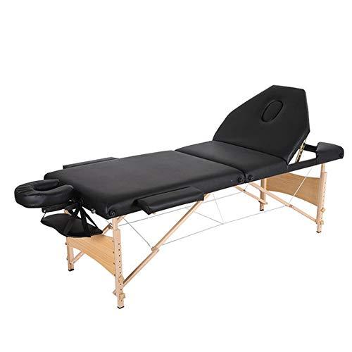 Asffdhley Tragbarer Massagetisch Massageliege 3 Abschnitt tragbare Massagetisch Couch-Bett Spa Leicht Einstellbare Höhe for Schönheitssalon Tattoo Schwarz Whirlpool (Color : Black, Size : 185x70cm)
