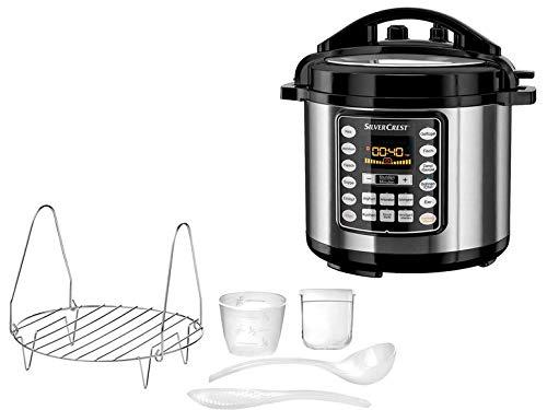 Elektrischer Schnellkochtopf Multikocher Reiskocher Dampfkocher Elektro Kochtopf Schongaren Sauté Anbraten, Warmhalten oder zur Joghurtzubereitung SSM 1000 A1 12 voreingestellte Kochprogramme